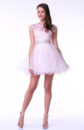 Romantic Baby Doll Illusion Sleeveless Satin Appliques Plus Size Prom Dresses