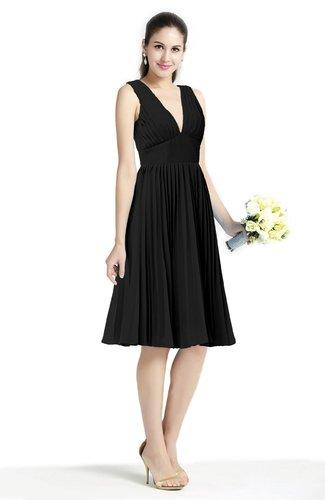 Plain A-line V-neck Zip up Chiffon Sash Plus Size Bridesmaid Dresses