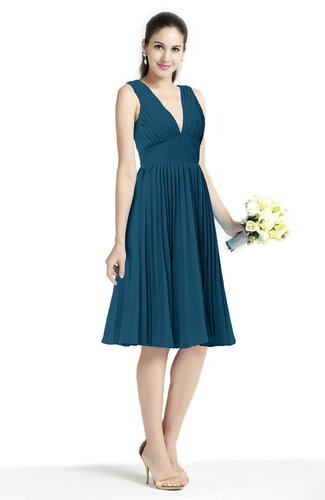 Plain A-line V-neck Zip up Chiffon Sash Plus Size Bridesmaid Dresses