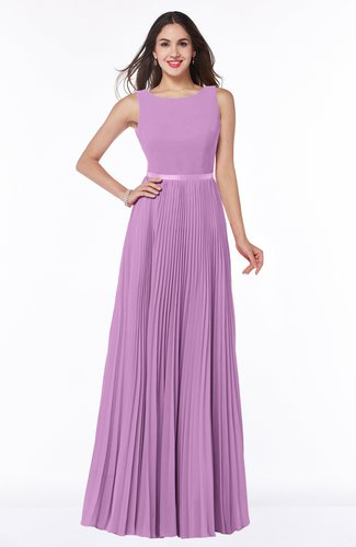 Simple A-line Chiffon Floor Length Sash Plus Size Bridesmaid Dresses
