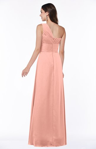 Peach Elegant Asymmetric Neckline Zipper Chiffon Ruching Plus Size  Bridesmaid Dresses