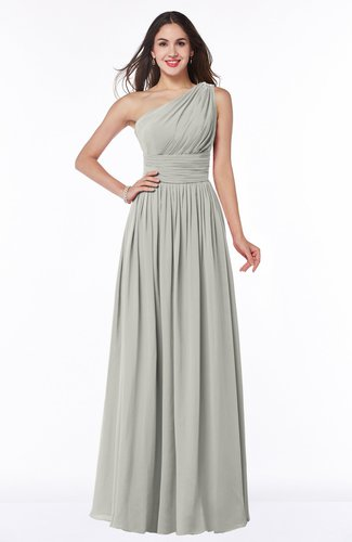 Traditional A-line One Shoulder Sleeveless Chiffon Floor Length Plus Size Bridesmaid Dresses