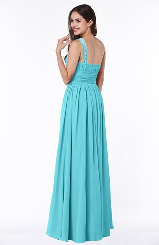 Turquoise Traditional A-line One Shoulder Sleeveless Chiffon Floor Length  Plus Size Bridesmaid Dresses