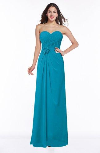 Teal Modern A-line Sweetheart Chiffon Floor Length Plus Size Bridesmaid  Dresses