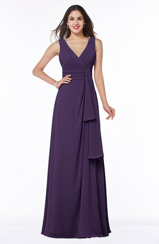 Vintage Sleeveless Zipper Floor Length Sash Plus Size Bridesmaid Dresses