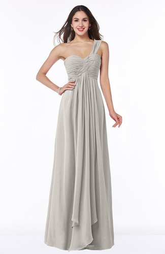 Sexy One Shoulder Sleeveless Zip up Floor Length Plus Size Bridesmaid Dresses