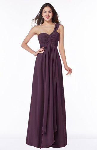 Sexy One Shoulder Sleeveless Zip up Floor Length Plus Size Bridesmaid Dresses