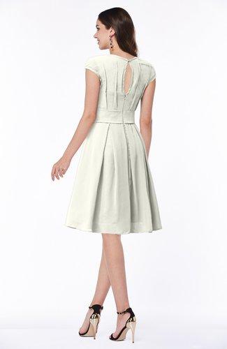 Cream Elegant Jewel Chiffon Knee Length Sash Plus Size Bridesmaid Dresses
