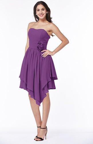Casual Sleeveless Half Backless Chiffon Asymmetric Ribbon Plus Size Bridesmaid Dresses