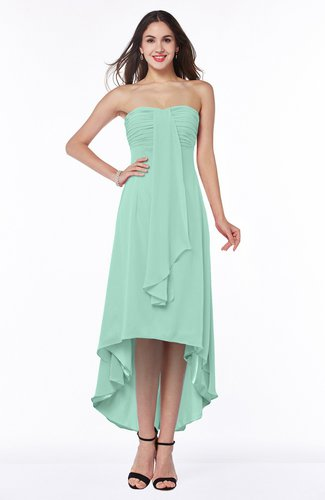 Romantic A-line Strapless Zipper Chiffon Tassel Plus Size Bridesmaid Dresses