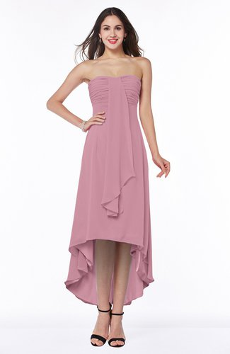 Romantic A-line Strapless Zipper Chiffon Tassel Plus Size Bridesmaid Dresses