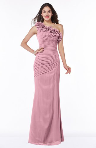 Modern Asymmetric Neckline Sleeveless Chiffon Floor Length Plus Size Bridesmaid Dresses