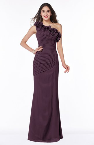 Modern Asymmetric Neckline Sleeveless Chiffon Floor Length Plus Size Bridesmaid Dresses