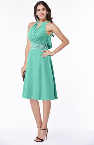 Mint Green Mature A-line Halter Lace up Chiffon Rhinestone Plus Size  Bridesmaid Dresses