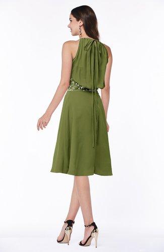 Olive Green Mature A-line Halter Lace up Chiffon Rhinestone Plus Size  Bridesmaid Dresses