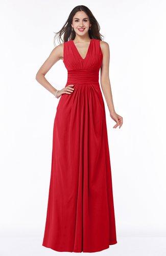 Traditional V-neck Zipper Chiffon Sash Plus Size Bridesmaid Dresses