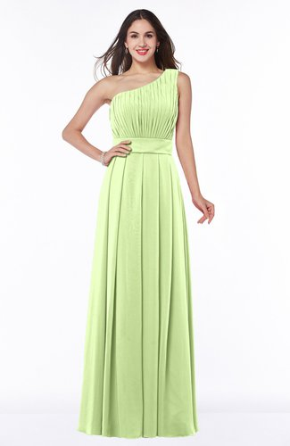 Plain Asymmetric Neckline Sleeveless Half Backless Floor Length Plus Size Bridesmaid Dresses