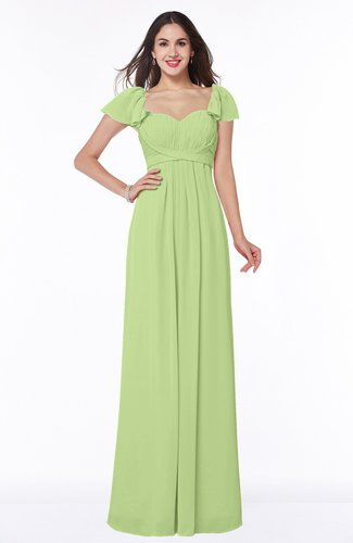 Modern Portrait Short Sleeve Floor Length Sash Plus Size Bridesmaid Dresses