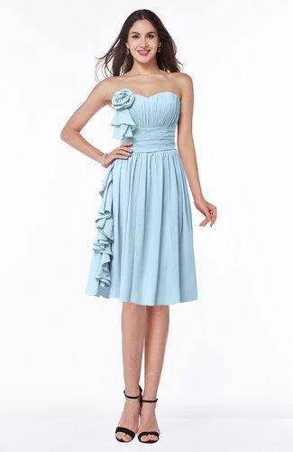 Traditional A-line Sweetheart Sleeveless Chiffon Knee Length Plus Size Bridesmaid Dresses