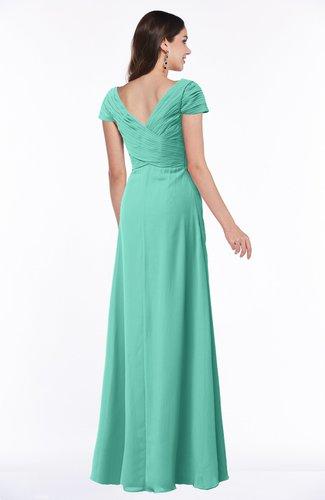Mint Green Modest Short Sleeve Chiffon Floor Length Ruching Plus Size  Bridesmaid Dresses