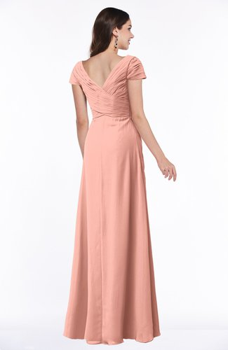 Peach Modest Short Sleeve Chiffon Floor Length Ruching Plus Size Bridesmaid  Dresses