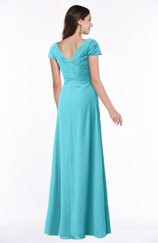 Turquoise Modest Short Sleeve Chiffon Floor Length Ruching Plus Size  Bridesmaid Dresses