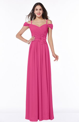 Gorgeous A-line Off-the-Shoulder Short Sleeve Chiffon Plus Size Bridesmaid Dresses