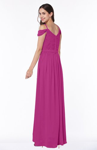 Hot Pink Gorgeous A-line Off-the-Shoulder Short Sleeve Chiffon Plus Size  Bridesmaid Dresses