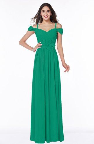 Gorgeous A-line Off-the-Shoulder Short Sleeve Chiffon Plus Size Bridesmaid Dresses