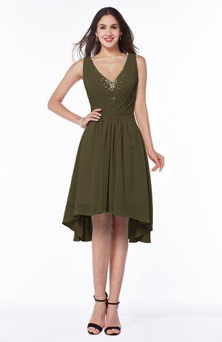 Elegant A-line Sleeveless Zip up Rhinestone Plus Size Bridesmaid Dresses