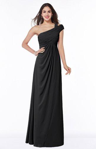 Elegant One Shoulder Chiffon Floor Length Ruching Plus Size Bridesmaid Dresses