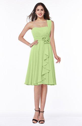 Traditional Asymmetric Neckline Sleeveless Zip up Chiffon Flower Bridesmaid Dresses