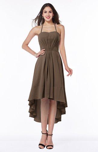 Casual A-line Sleeveless Zip up Chiffon Asymmetric Plus Size Bridesmaid Dresses