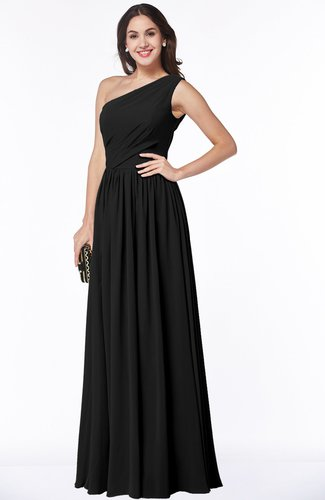 Black Elegant Asymmetric Neckline Chiffon Floor Length Pleated Plus Size  Bridesmaid Dresses