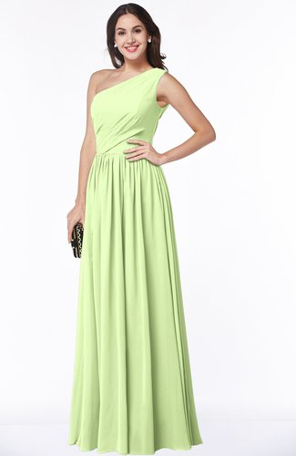 Elegant Asymmetric Neckline Chiffon Floor Length Pleated Plus Size Bridesmaid Dresses