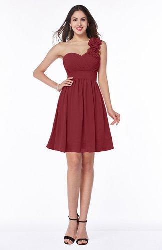 Modern A-line Asymmetric Neckline Sleeveless Zip up Flower Plus Size Bridesmaid Dresses