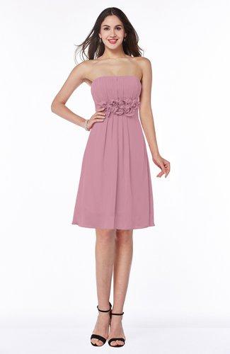 Cute A-line Half Backless Chiffon Knee Length Plus Size Bridesmaid Dresses
