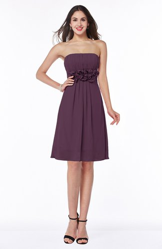 Cute A-line Half Backless Chiffon Knee Length Plus Size Bridesmaid Dresses