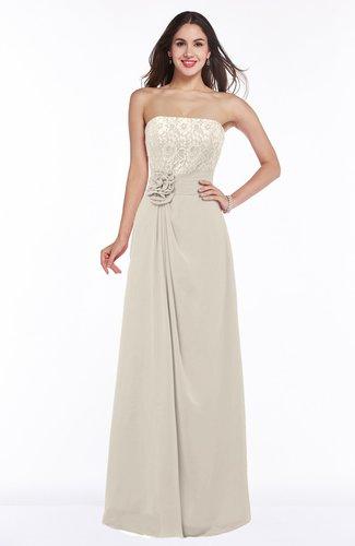 Champagne Disney Princess A-line Strapless Zipper Chiffon Plus Size  Bridesmaid Dresses