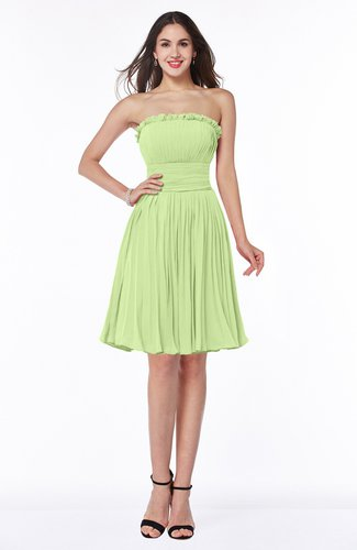 Modern A-line Strapless Half Backless Chiffon Ribbon Plus Size Bridesmaid Dresses