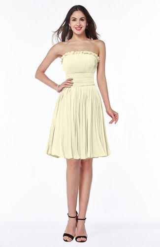 Modern A-line Strapless Half Backless Chiffon Ribbon Plus Size Bridesmaid Dresses