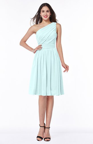 Simple A-line One Shoulder Chiffon Knee Length Plus Size Bridesmaid Dresses