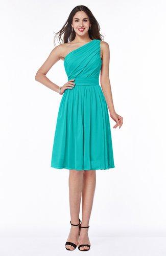 Simple A-line One Shoulder Chiffon Knee Length Plus Size Bridesmaid Dresses