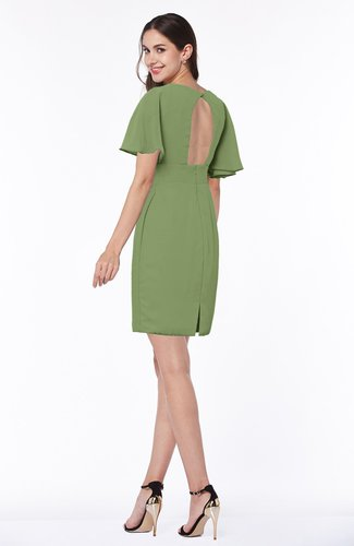 Moss Green Modest Sheath Zip up Chiffon Short Plus Size ...