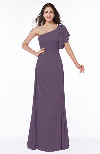 Modern A-line Asymmetric Neckline Short Sleeve Floor Length Plus Size Bridesmaid Dresses