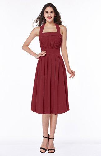 Cute Halter Sleeveless Half Backless Chiffon Tea Length Plus Size Bridesmaid Dresses