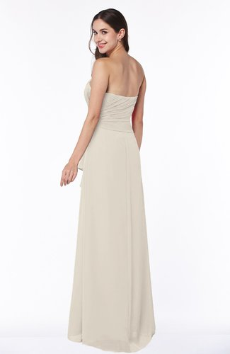 Champagne Mature Strapless Half Backless Chiffon Floor Length Flower Plus  Size Bridesmaid Dresses