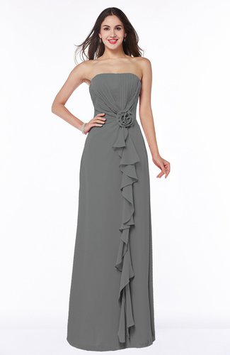Mature Strapless Half Backless Chiffon Floor Length Flower Plus Size Bridesmaid Dresses
