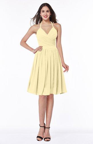 Sexy A-line Halter Chiffon Knee Length Pleated Plus Size Bridesmaid Dresses