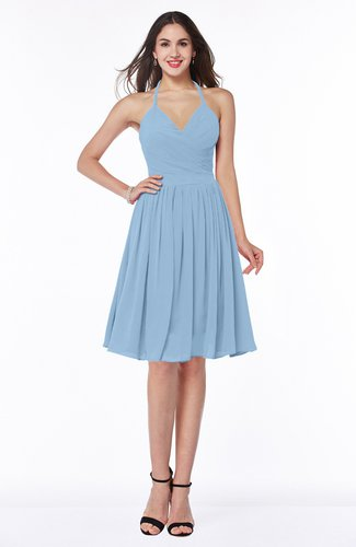 Sexy A-line Halter Chiffon Knee Length Pleated Plus Size Bridesmaid Dresses